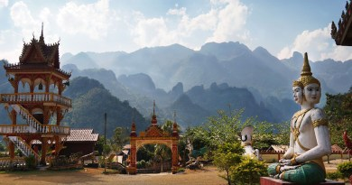 Laos Temple Mountains Buddhist Vang Vieng
