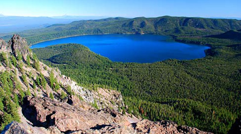 The view of Paulina Lake from Paulina Peak in the Newberry National Volcanic Monument. Photo Credit: Gary Halvorson, Oregon State Archives, Wikipedia Commons