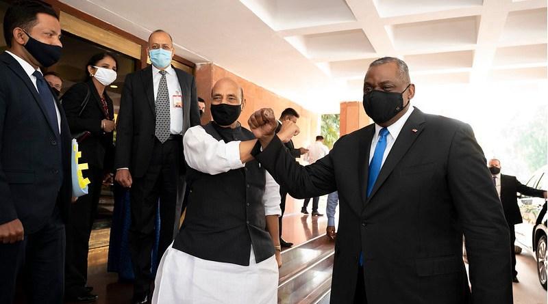 Secretary of Defense Lloyd J. Austin III meets with Indian Minister of Defense Rajnath Singh, at Vigyan Bhawan, New Delhi, India, March 20, 2021. (DoD photo by Lisa Ferdinando)