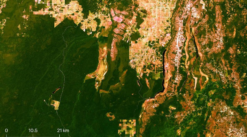 Researchers used satellite images from NASA's Landsat archive to quantify land-use and land-cover (LULC) changes that occurred in Belize's Orange Walk District since the 1980s. CREDIT Image from the Landsat 8 archive, NASA/USGS.