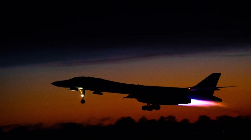 A B-1B Lancer assigned to the 9th Expeditionary Bomb Squadron takes off from Ørland Air Force Station, Norway. Photo Credit: Air Force Airman 1st Class Colin Hollowell