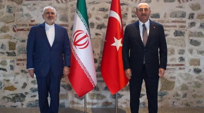 Foreign Minister of Iran Mohammad Javad Zarif with Turkish counterpart Mevlut Cavusoglu. Photo Credit: Tasnim News Agency