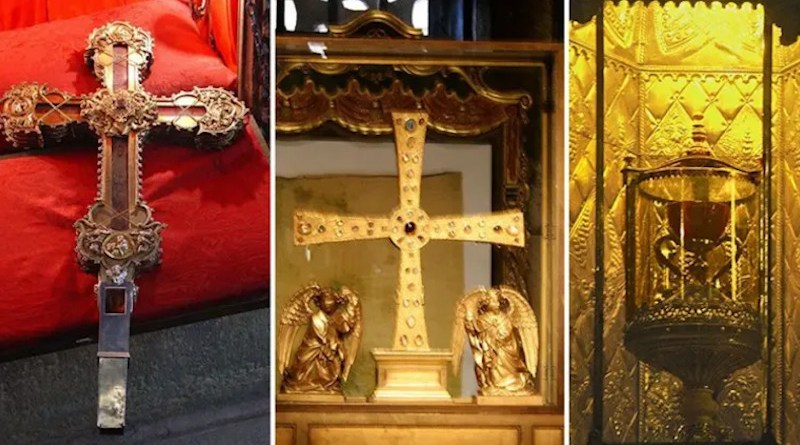 From left: Relic of the Lignum Crucis, Holy Shroud, and Holy Chalice. / Wikipedia / Public Domain.