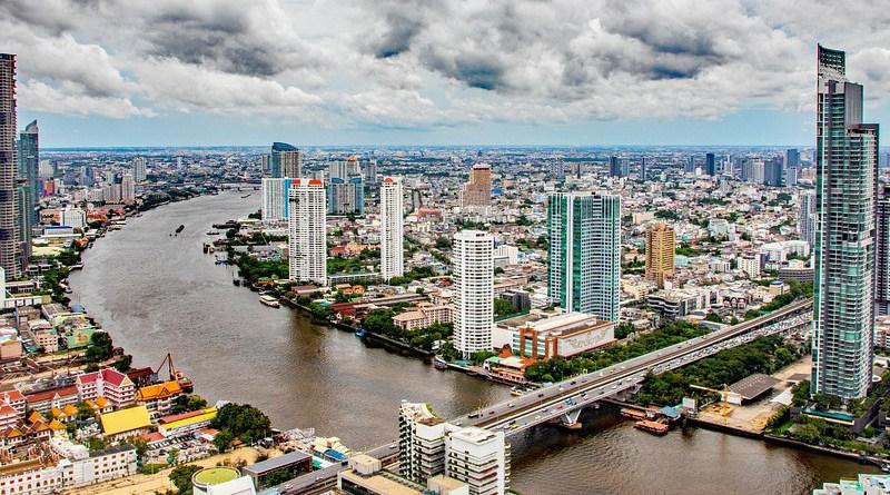 The Chao Phraya river flows through Bangkok, Thailand