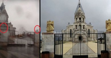 Montage of gates of Ghazanchetsots Cathedral of Shushi showing angels removed. Photo Credit: PanARMENIAN