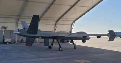 The Marine Corps' first MQ-9A unmanned aerial vehicle sits at an undisclosed location in the U.S. Central Command's area of responsibility. Photo Credit: Marine Corps 1st Lt. John Coppola