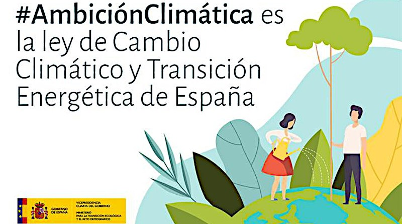 Spanish government poster supporting the Climate Change and Energy Transition Act