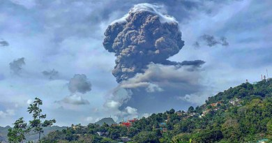 Plumes of ash billow from the La Soufriere volcano on the island of St. Vincent and the Grenadines which started erupting on 9th April. Photo Credit: Navin Pato Patterson, UN News