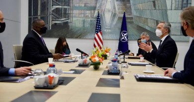 NATO Secretary General Jens Stoltenberg welcomes Secretary of Defense Lloyd J. Austin III to NATO headquarters, April 14, 2021. Photo Credit: NATO