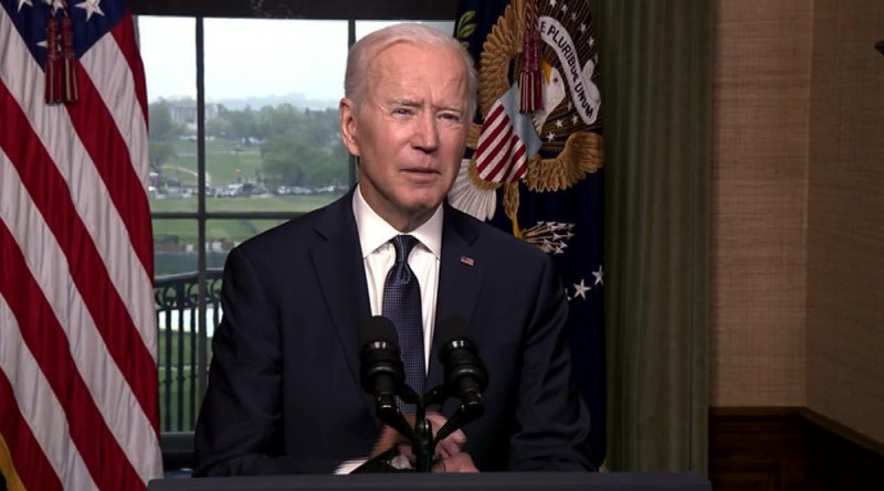 US President Joe Biden announce withdrawal of US troops from Afghanistan. Photo Credit: White House video screenshot