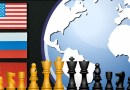 russia china united states flags globe chess