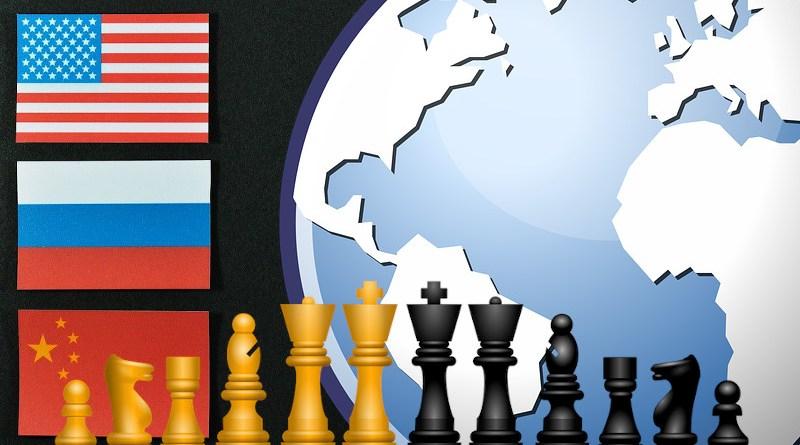 russia china united states flags globe chess