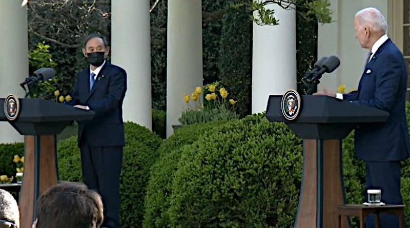 U.S. President Joe Biden and Japanese Prime Minister Yoshihide Suga. Photo Credit: White House video screenshot