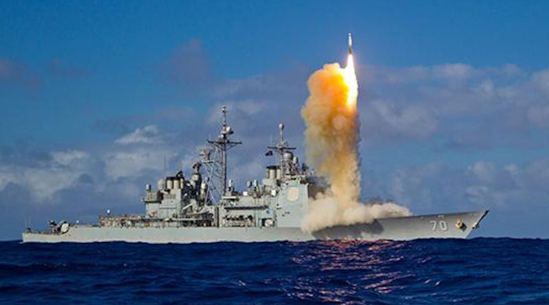 Launch of SM-3 Block IB interceptor from guided-missile cruiser USS Lake Erie (CG 70). CREDIT U.S. Navy