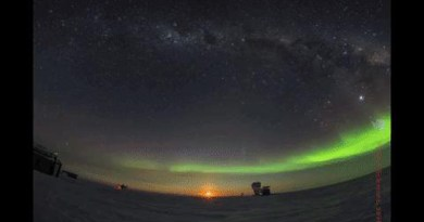 The night sky dances with auroras over Dark Sector Laboratory at the Amundsen-Scott South Pole Station at the geographic South Pole. On the very far right, inside the silver ground shield, is BICEP3, which has been observing since 2016. The BICEP/Keck collaboration operates a series of small aperture telescopes including BICEP3 that are targeted at the search for signatures of inflationary gravitational waves. CREDIT Robert Schwarz