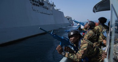 "Sailors from the island country of Comoros, off the east African coast, prepare to participate in ""visit, board, search and seizure"" training aboard the Indian Talwar-class frigate INS Trikand during Exercise Cutlass Express in Djibouti. Photo Credit: Air Force Staff Sgt. Amy Picard"