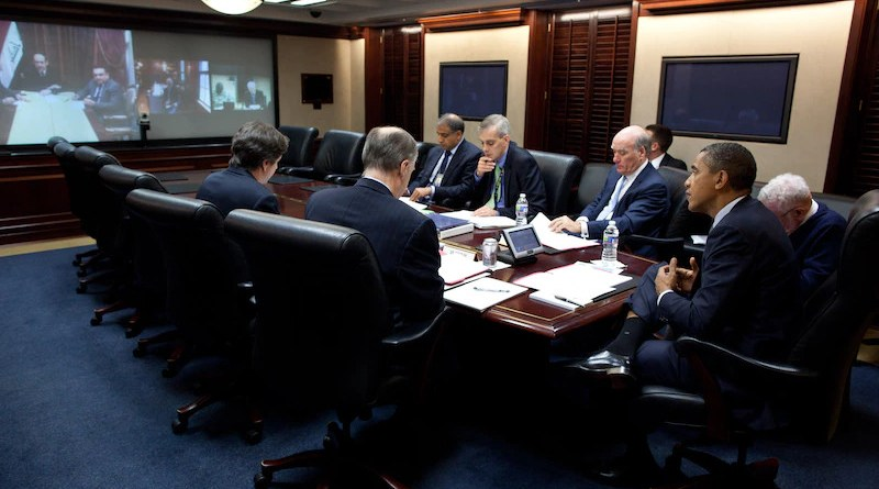 President Barack Obama talks with Iraq's Prime Minister Nouri al-Maliki during secure video teleconference in Situation Room, The White House, October 21, 2011 (White House/Pete Souza)