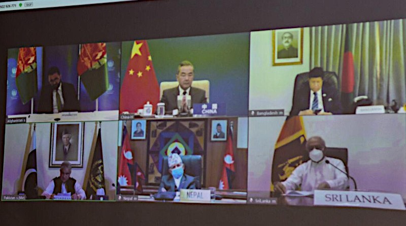 Screenshot of video conference of the Foreign Ministers of South Asian countries and China. Photo Credit: Pakistan'sMakhdoom Shah Mahmood Qureshi, Foreign Minister, Twitter