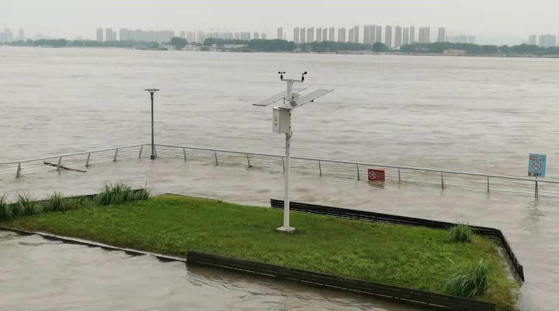 Automatic weather station near the Yangtze River in Nanjing, which flooded on 23 July 2020 CREDIT Bing Zhou