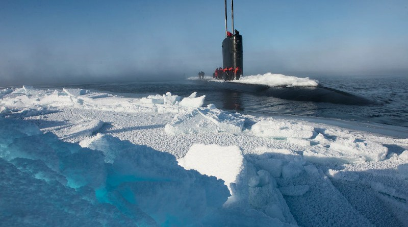 The submarine USS Hartford surfaces near Ice Camp Sargo during Ice Exercise 2016 in the Arctic Circle. Photo Credit: Navy Petty Officer 2nd Class Tyler Thompson