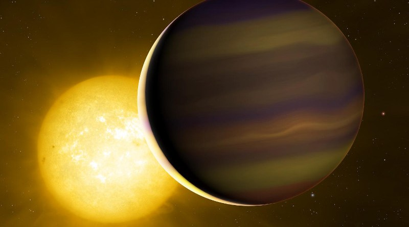 Exoplanet HD 209458b transits its star. The illuminated crescent and its colours have been exaggerated to illustrate the light spectra that the astronomers used to identify the six molecules in its atmosphere. CREDIT University of Warwick/Mark Garlick