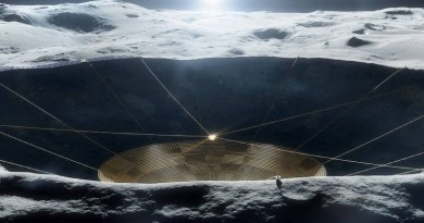 Illustration of a conceptual radio telescope within a crater on the Moon. The early-stage concept is being studied under grant funding from the NASA Innovative Advanced Concepts program but is not a NASA mission. Credits: Vladimir Vustyansky