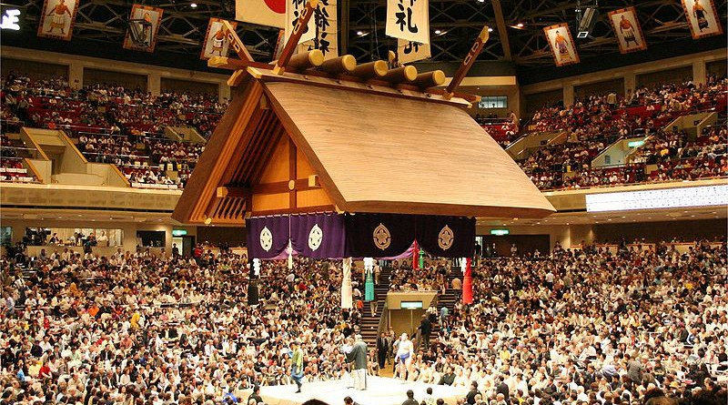 The sumo hall of Ryōgoku in Tokyo during the May, 2006 tournament. Photo Credit: Goki, Wikipedia Commons