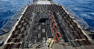 Thousands of illicit weapons interdicted by guided-missile cruiser USS Monterey (CG 61) from a stateless dhow in international waters of the North Arabian Sea, May 8, 2021. Photo Credit: US Navy