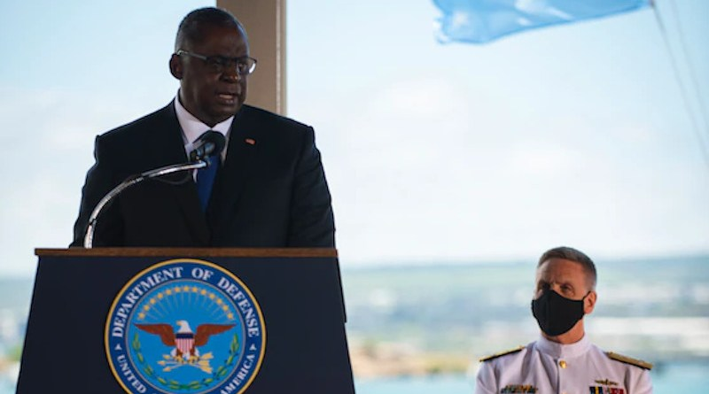 Secretary of Defense Lloyd J. Austin III delivers remarks during the change-of-command ceremony for Indo-Pacific Command at Joint Base Pearl Harbor-Hickam, Hawaii, April 30, 2021. Photo Credit: Navy Petty Officer 2nd Class Anthony Rivera