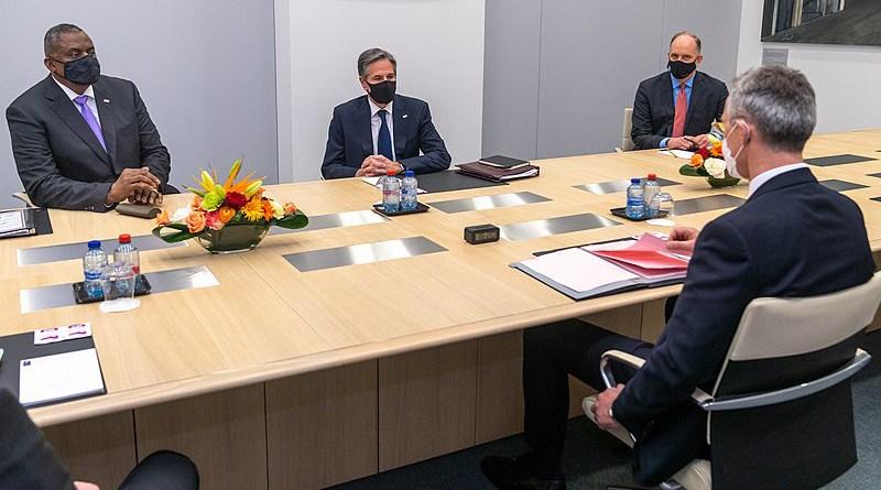 Secretary of State Atony J. Blinken and U.S. Secretary of Defense Lloyd Austin meet with NATO Secretary General Jans Stoltenberg in Brussels, Belgium on April 14, 2021. [State Department Photo by Ron Przysucha/ Public Domain]