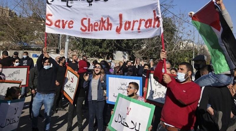 Sheikh Jarrah neighborhood protestors in East Jerusalem. Photo Credi: Fars News Agency