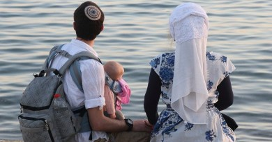 Family Israel Eilat Seafront Man Woman Child Baby