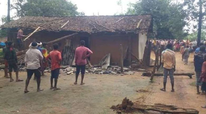 Tribal people attack the house of a Christian family in a village in Chhattisgarh state for refusing to abandon the Christian faith in September 2020. (Photo: UCA News)