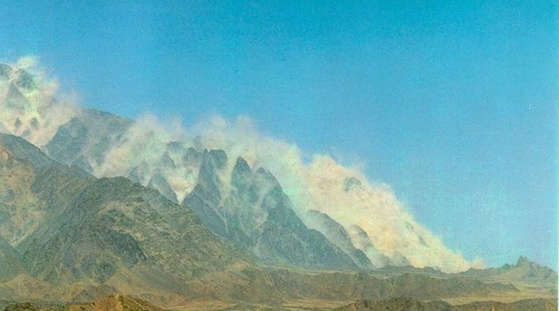 On May 28, 1998 at 15:15 hrs, the Pakistan government announced having conducted nuclear weapons testing in the Chaghi district of the Balochistan state in Pakistan. The image shows the graphite mountains raising up as the nuclear chain reaction builds up. Photo Credit: Government of Pakistan, Wikipedia Commons