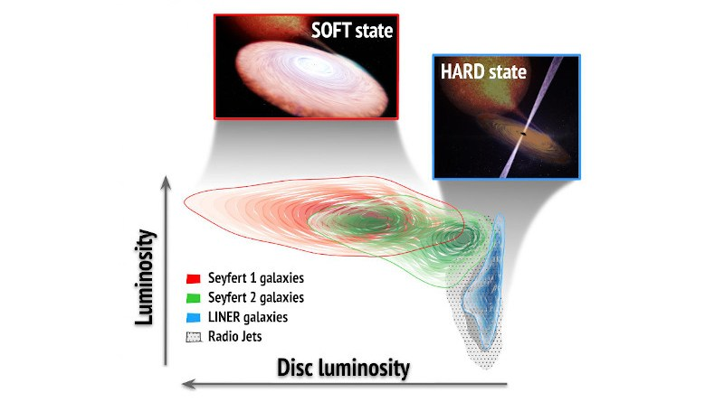 The figure illustrates how the population of active Seyfert-1 galaxies is typically dominated by the emission of the accretion disk ('soft' state), while the population of LINERs is much less luminous and is dominated by jets ('hard' state), which emit intensely in radio waves. The Seyfert-2 galaxies, on the other hand, do not show a homogeneous behaviour and while a good part behave in a similar way to the Seyfert-1, a large group of them are located in intermediate states. The latter are also observed in stellar black holes for short periods of time. CREDIT Teo Muñoz Darias/Juan A. Fernández Ontiveros