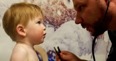 Luke at 15 months with Dr. Neil Romberg CREDIT CHOP