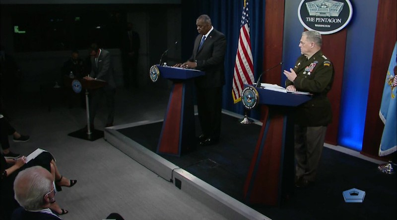 US Secretary of Defense Lloyd J. Austin III and Army Gen. Mark A. Milley, chairman of the Joint Chiefs of Staff hold joint press conference. Photo Credit: Screenshot DoD video