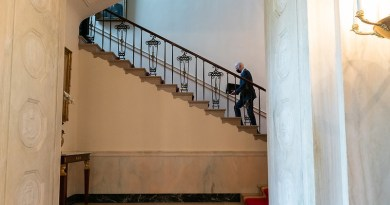 President Joe Biden walks up the Grand Staircase of the White House to the Second Floor private residence. (Official White House Photo by Adam Schultz)