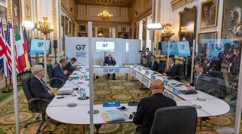 Secretary Antony J. Blinken participates in a G7 Session on China, in London, United Kingdom, on May 4, 2021. [State Department Photo by Ron Przysucha/ Public Domain]