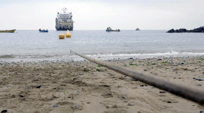 Researchers used the Curie transoceanic subsea fiber optic cable for geophysical sensing. The Curie cable connects Los Angeles, Calif., with Valparaiso, Chile. CREDIT Google