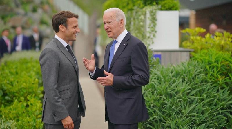 France's President Emmanuel Macron with US President Joe Biden at G-7 Summit. Photo Credit: The White House