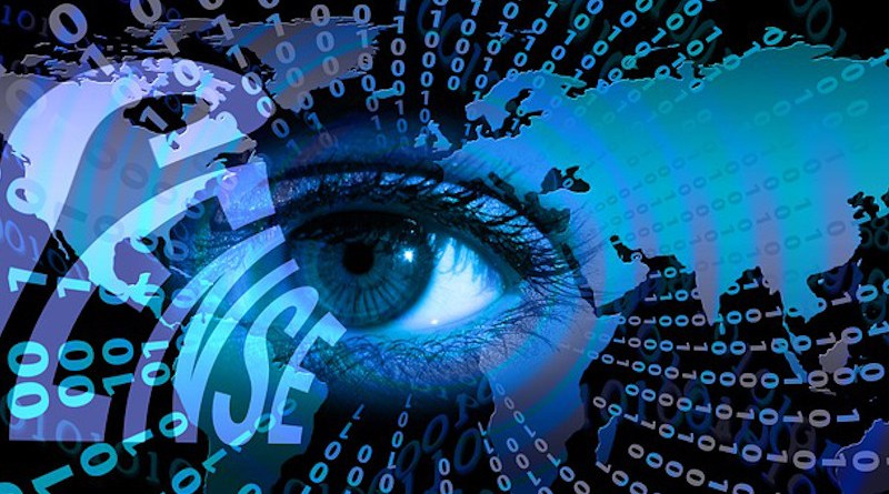 Technology Data Spying Privacy Surveillance Binary One Eye Sense Null Continents Earth World
