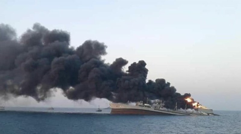 Iranian Navy's support vessel Kharg sinks off the Southern port city of Jask. Photo Credit: Fars News Agency