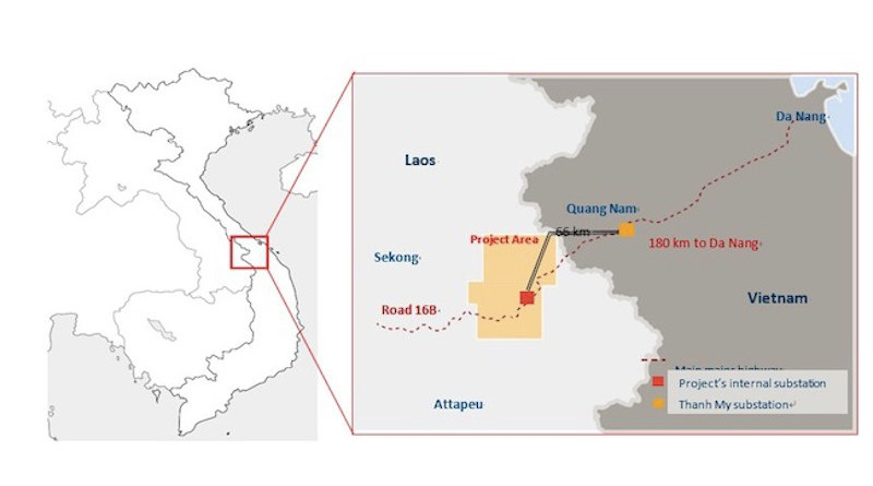Location of Mitsubishi Corporation onshore wind farm located in Sekong and Attapeu Provinces in southern Laos. Credit: Mitsubishi Corporation