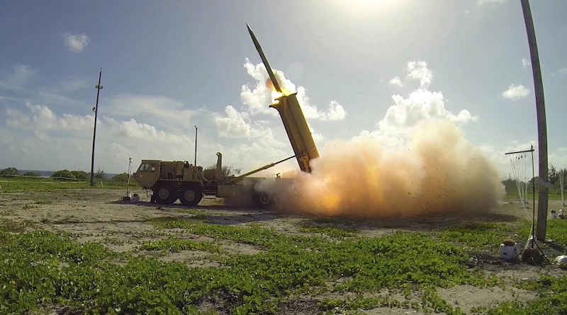A Terminal High Altitude Area Defense interceptor is launched from a THAAD battery during a flight test conducted on Wake Island in the western Pacific. Photo Credit: Ben Listerman, DOD