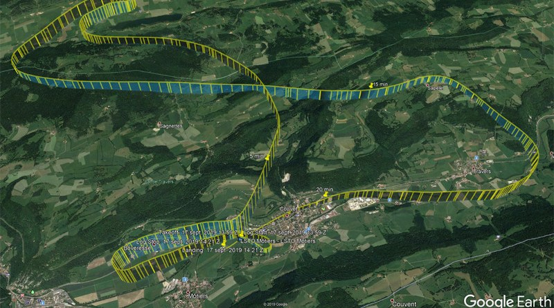 The route of flight of the helicopter, © Google Earth