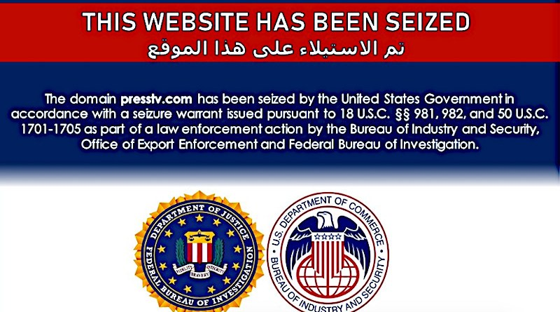 Screenshot of Iran's Press TV seized by the US government
