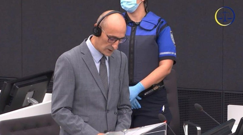 Salih Mustafa in court in October 2020. Photo: Kosovo Special Chambers/Screenshot.