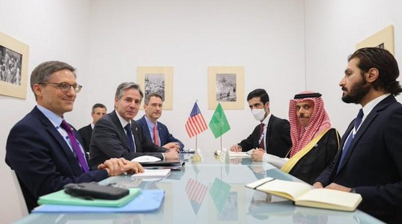 Saudi Arabia's Prince Faisal bin Farhan and US' Antony Blinken meet on the sidelines of the G20 Foreign Affairs Ministers' meeting. (SPA)