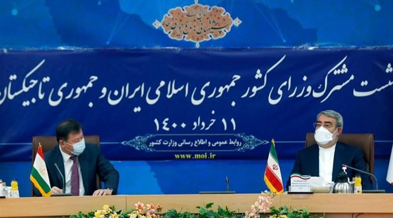 Tajikistan Interior Minister Ramazon Rahimov and Interior Ministry of Iran Abdolreza Rahmani Fazli. Photo Credit: Tasnim News Agency